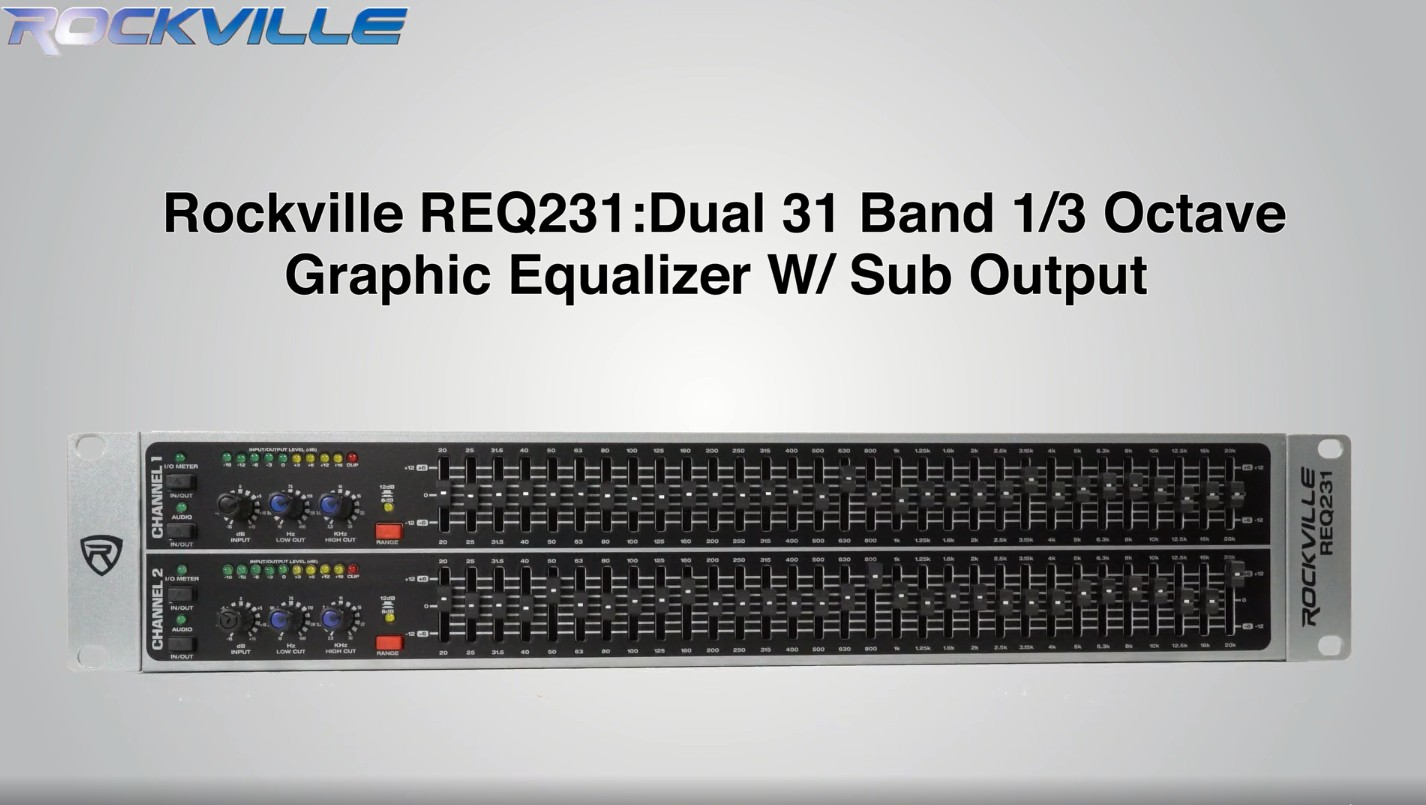 Rockville REQ231 Dual 31 Band 1//3 Octave Graphic Equalizer With Sub-Output!