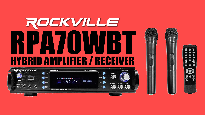 Rockville RPA70WBT 1000w 2 Channel Rack DJ Amplifier/Mixer/w/  Bluetooth/USB+Mics