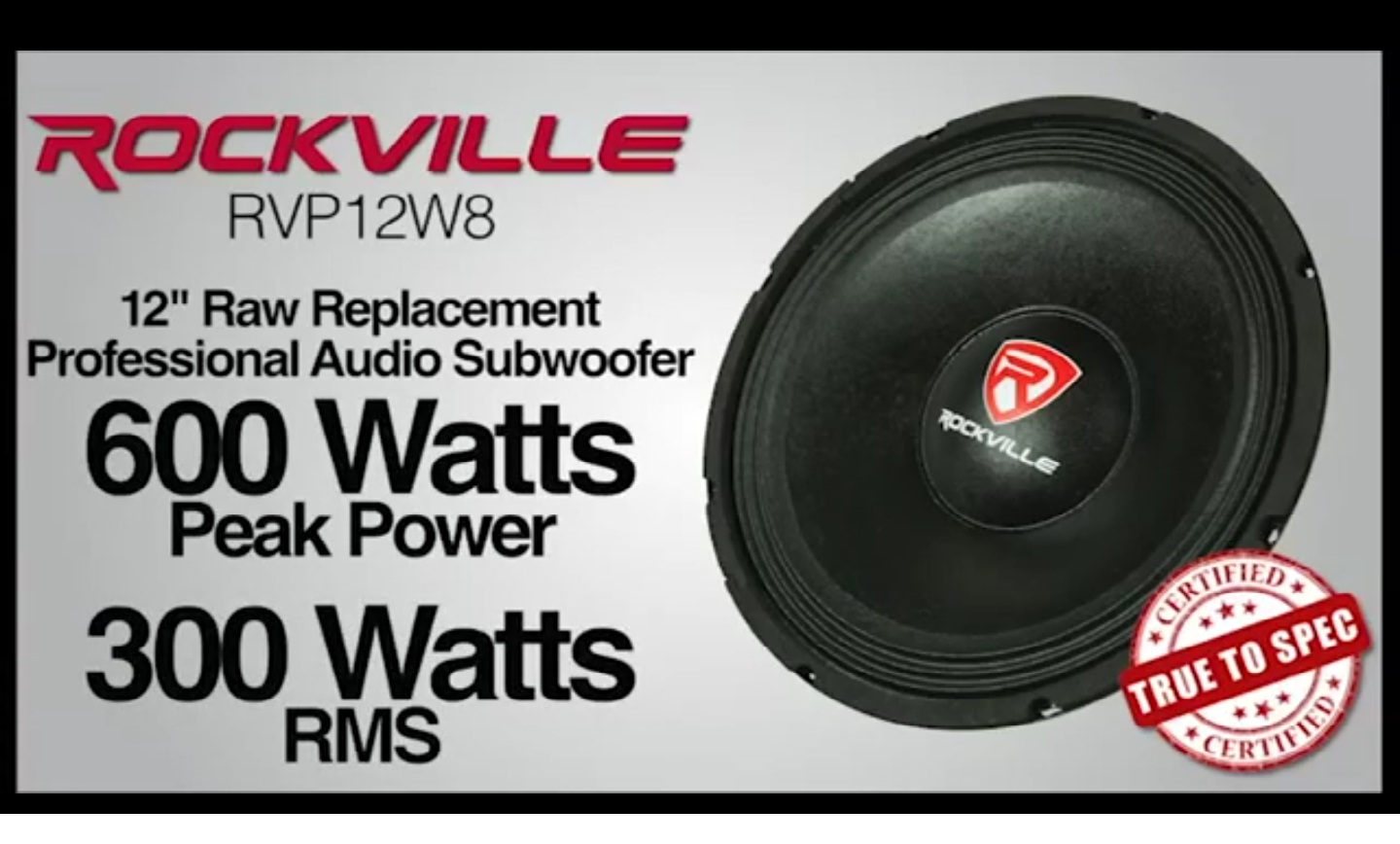 "Rockville RVP12W4 600 Watt 12/"" Raw Replacement DJ PA Subwoofer 4 Ohm Sub Woofer"