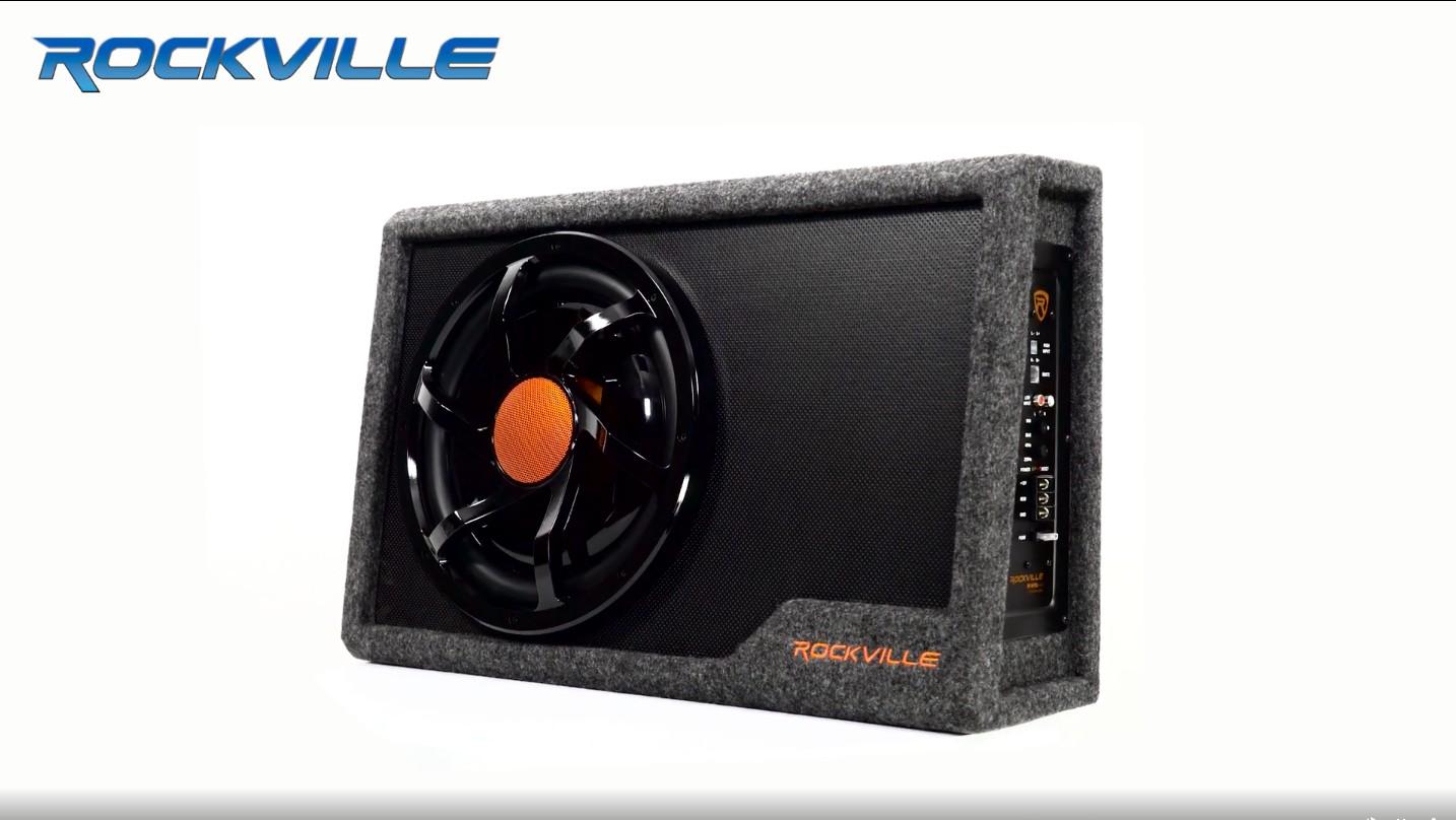"Wire Kit Rockville RWS12CA Slim 1200 Watt 12/"" Powered Car Subwoofer Enclosure"