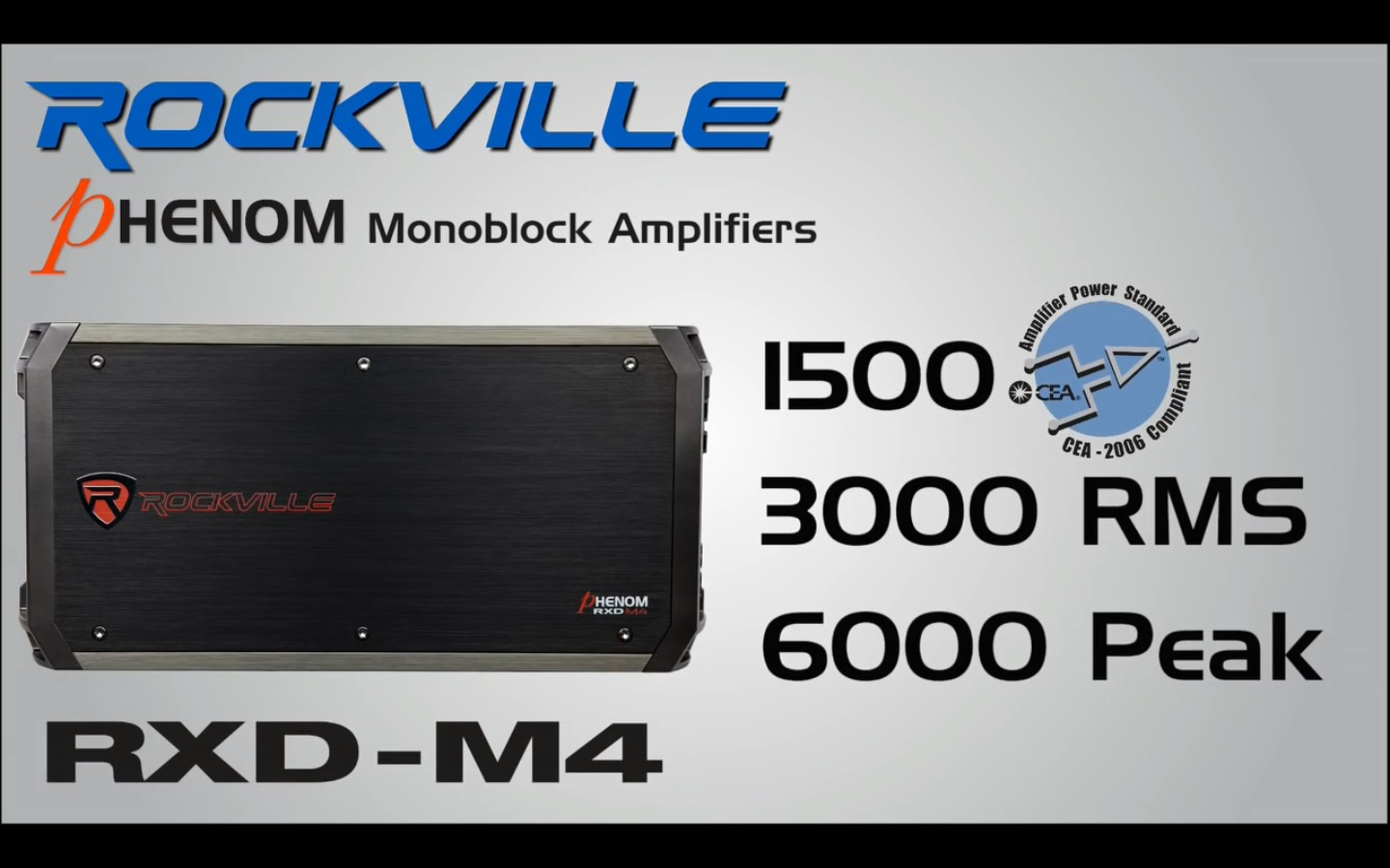 Rockville RXD-M4 6000 Watt//3000W RMS Mono Car Amplifier+100/% Copper Amp Wire Kit