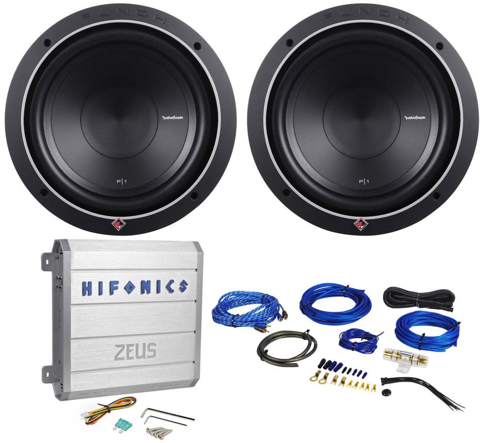 "Rockford Fosgate P1S2-10 10/"" Subwoofers Rockville 1000w Mono Amplifier For 2"
