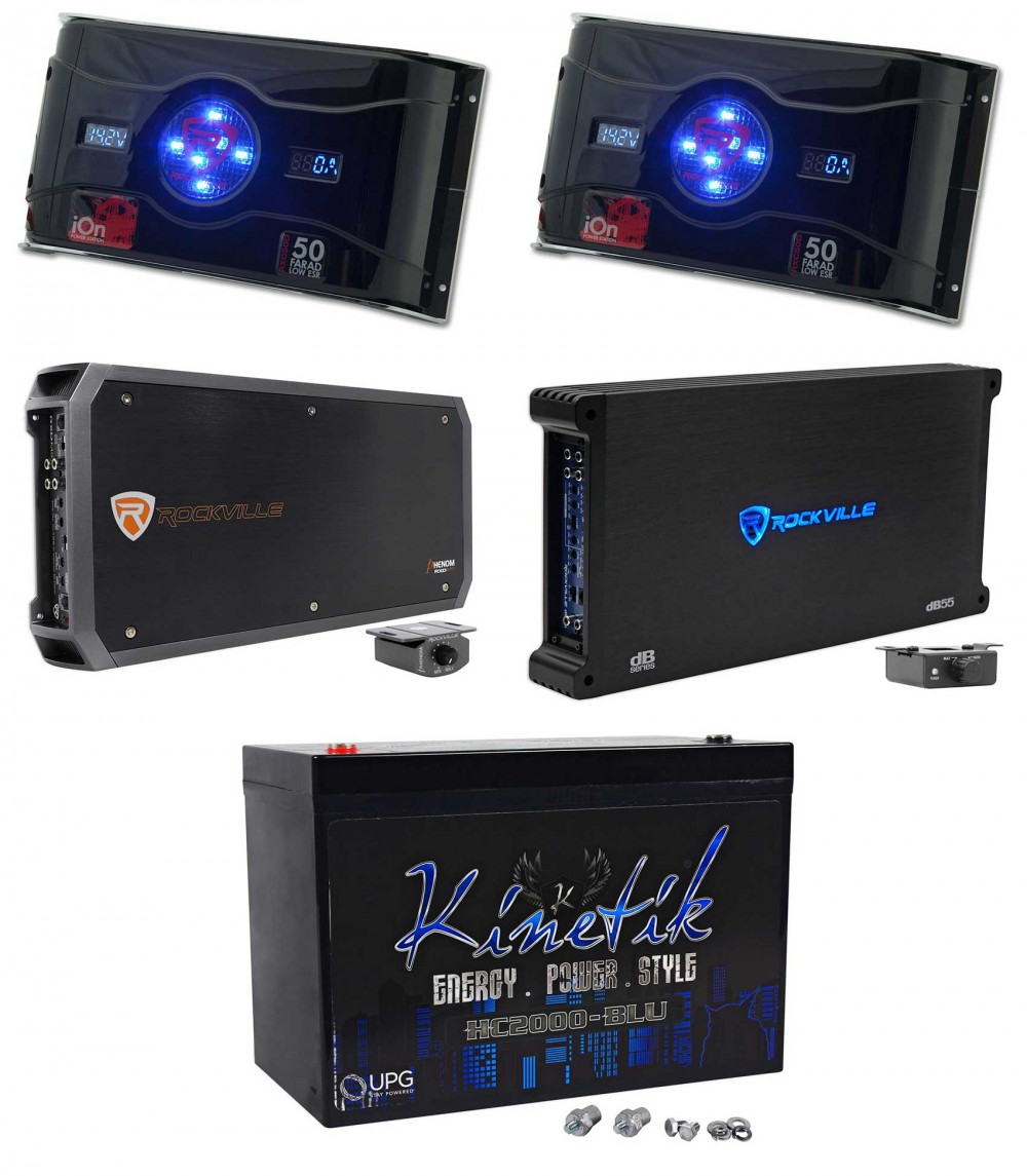 Rockville RXD-M5 8000w Amplifier+(2) 50 Farad Capacitors+4000w 5-Ch