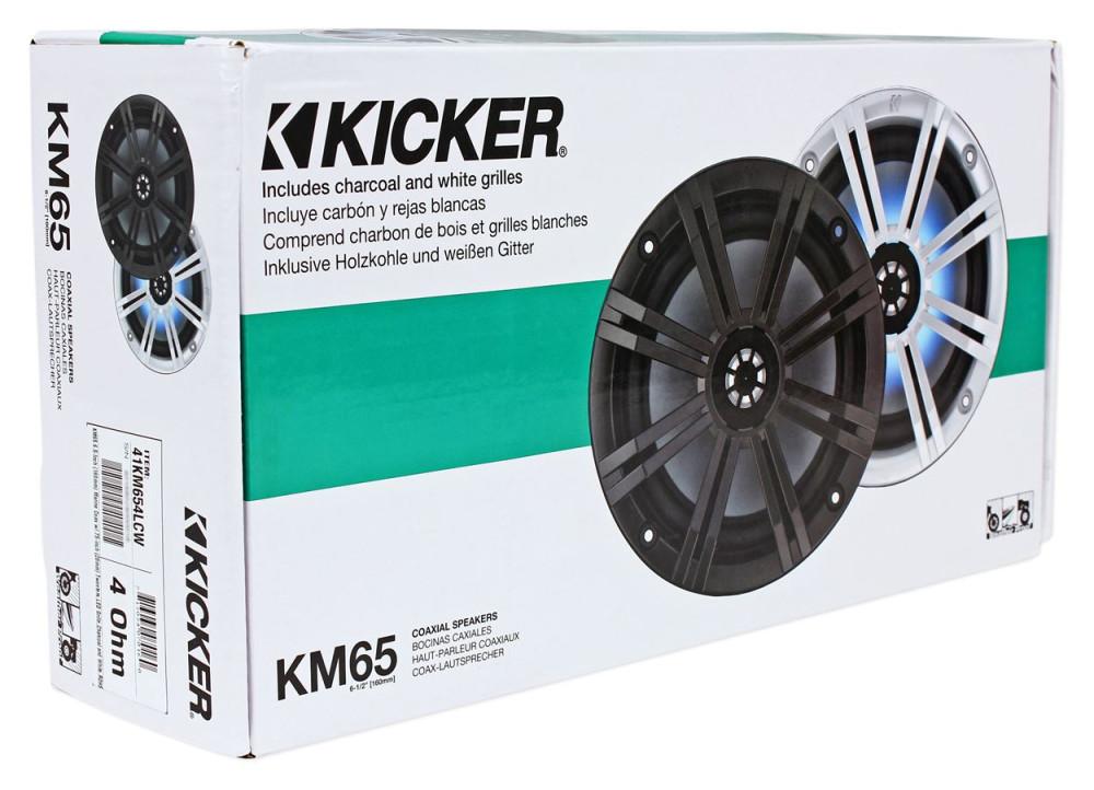 """Kicker 41KM654LCW KM65 6.5/"""" Marine Speakers+41KMLC LED Remote+50/' Marine Wire"""