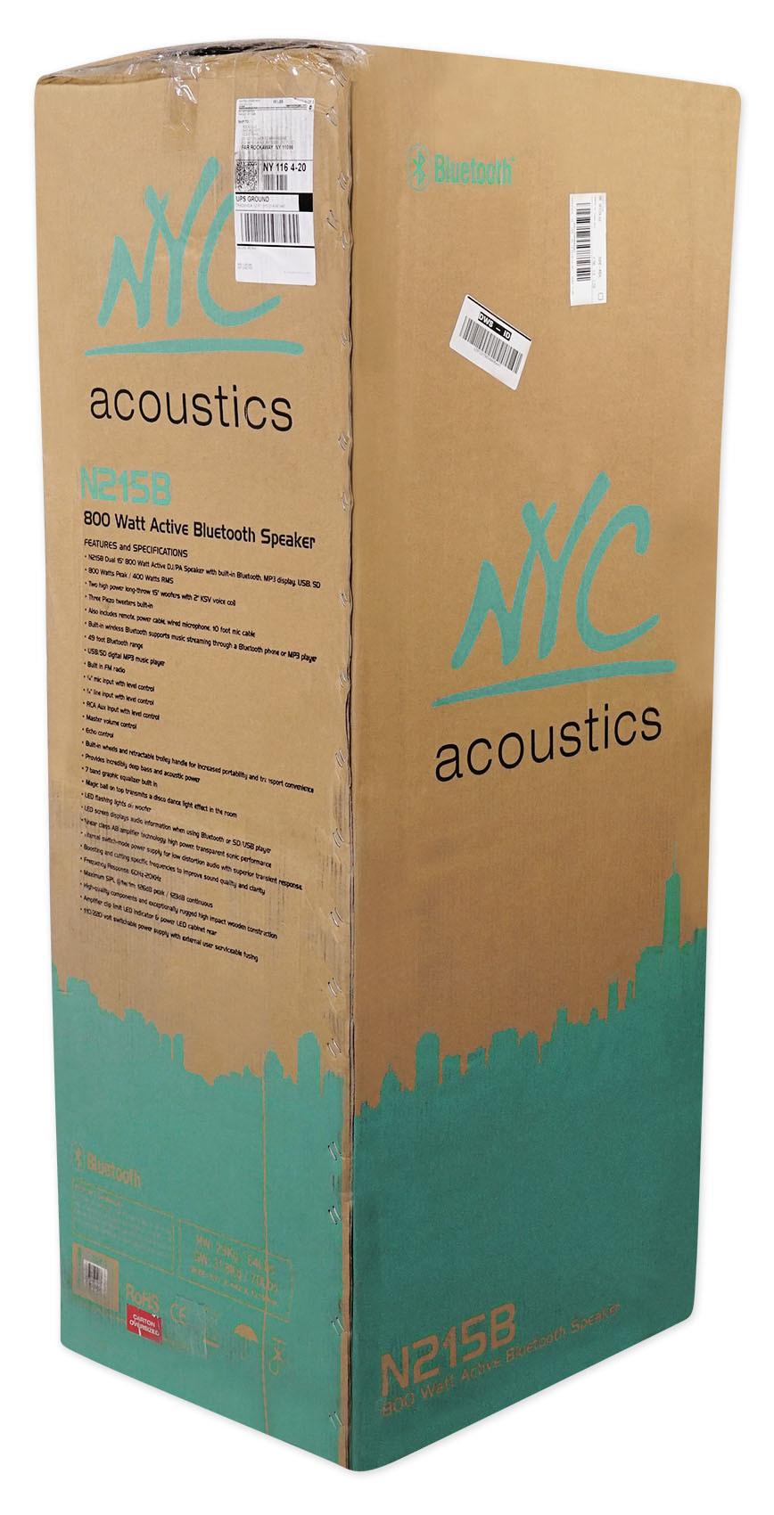 "NYC Acoustics N215B Dual 15/"" 800w Powered DJ Party Speaker Bluetooth Lights+Mic"