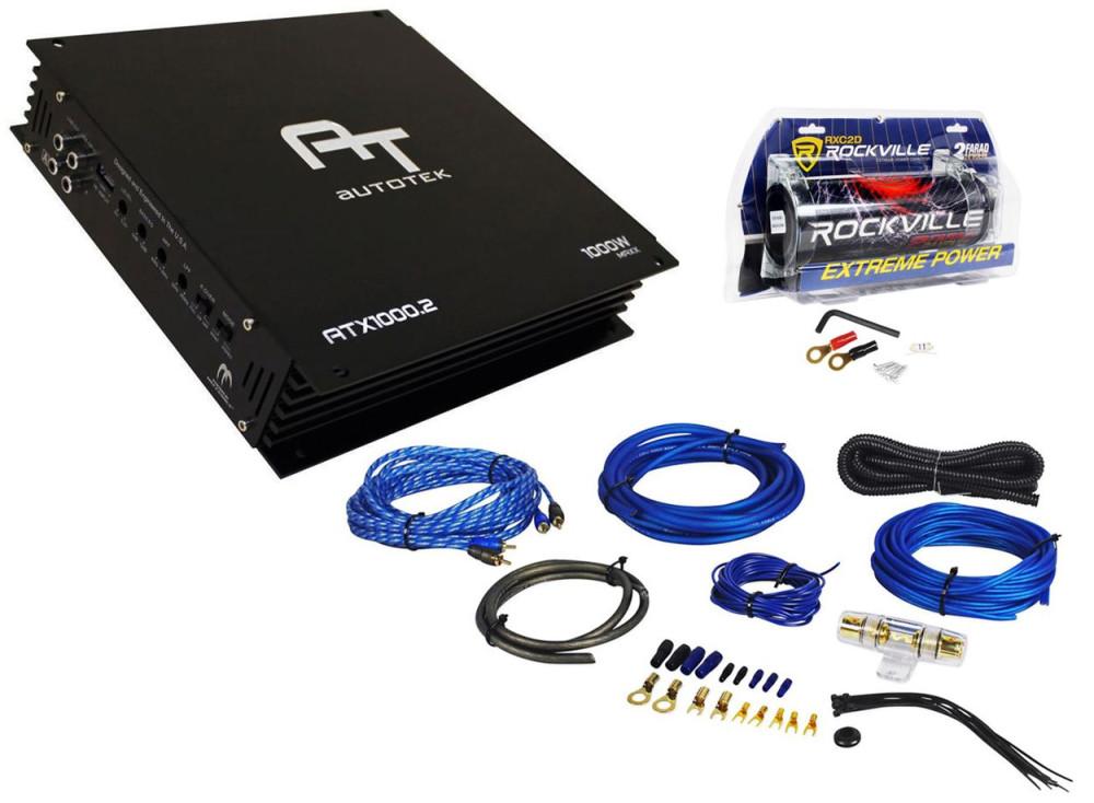 Autotek ATX1000 2 1000 Watt 2 Channel Car Amplifier+2 Farad