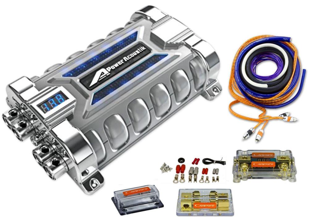 cadence uda0+4k 0/4 gauge digital amp kit+power acoustik 30 farad capacitor  | audio savings