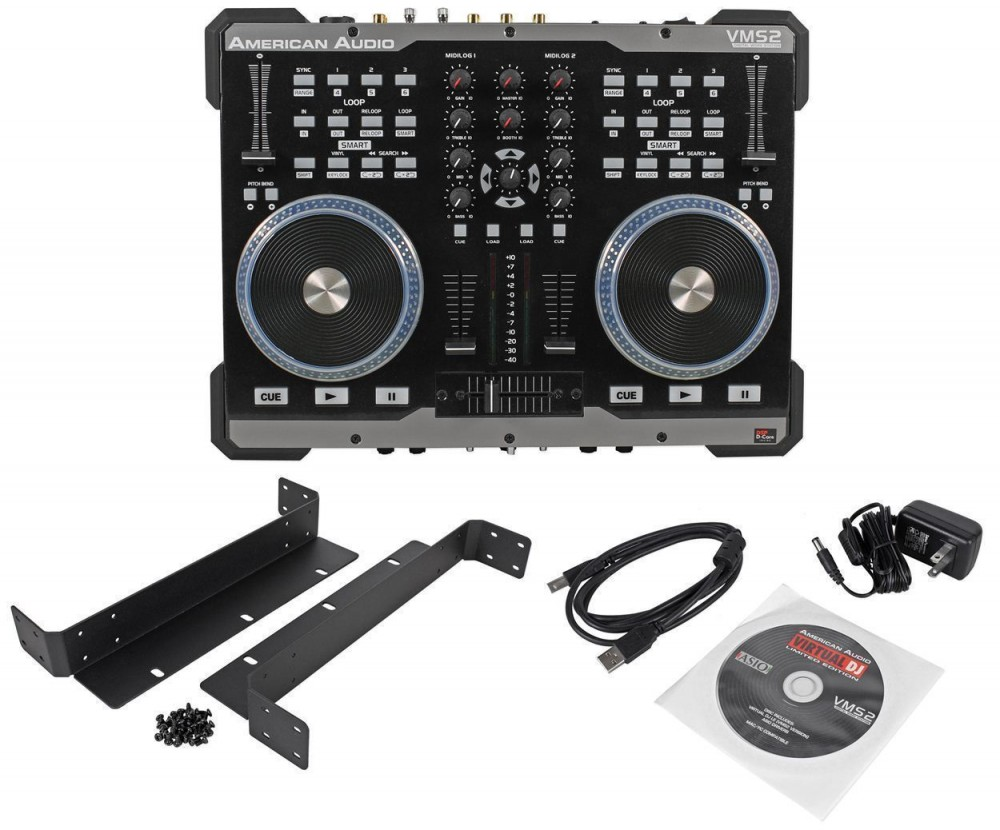 american audio vms2 usb midi dj controller with touch scratch wheel vms702 audio savings. Black Bedroom Furniture Sets. Home Design Ideas