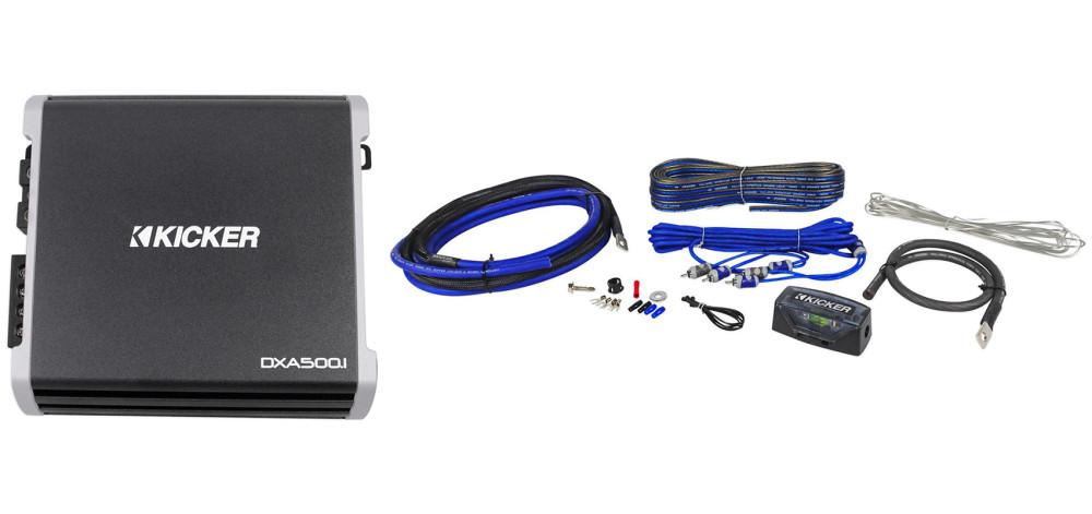 Kicker 43DXA5001 Car Audio Sub Amp DXA500.1 w// Bass Remote /& CK4 Amplifier Kit