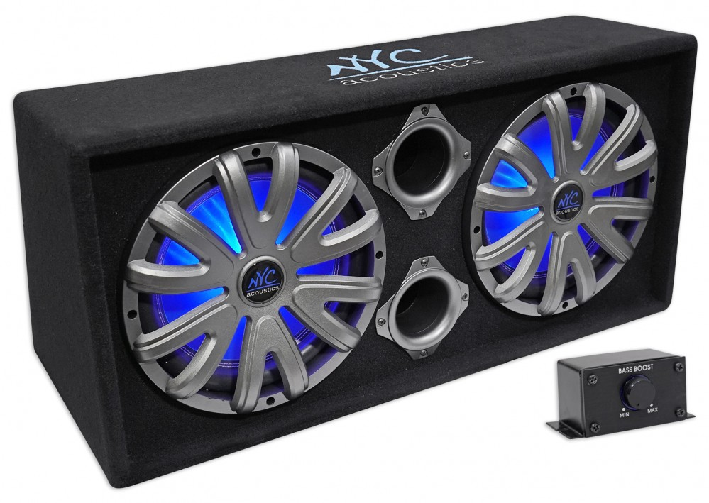"""NYC Acoustics NSE212L Dual 12"""" 1800w Powered/Amplified Car Subwoofer System+LED - Powered"""