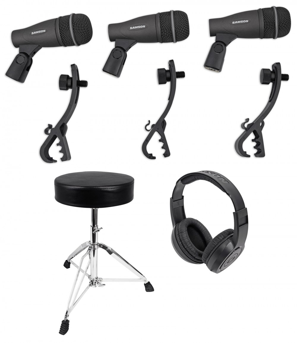 Samson DK703 Drum Mic 3-Piece Microphone Live and Recording Kit with 3 Q72 mics