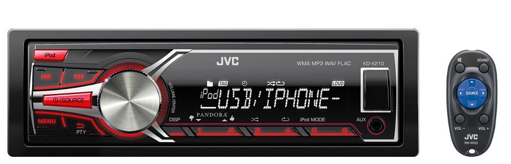 JVC Refurbished KD-X210 Single-Din Digital Media Receiver w// USB//Aux Input
