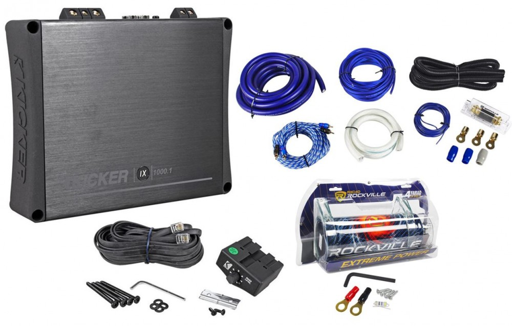 Kicker 11IX1000 1 1000 Watt RMS Mono Car Amplifier + 4 Farad