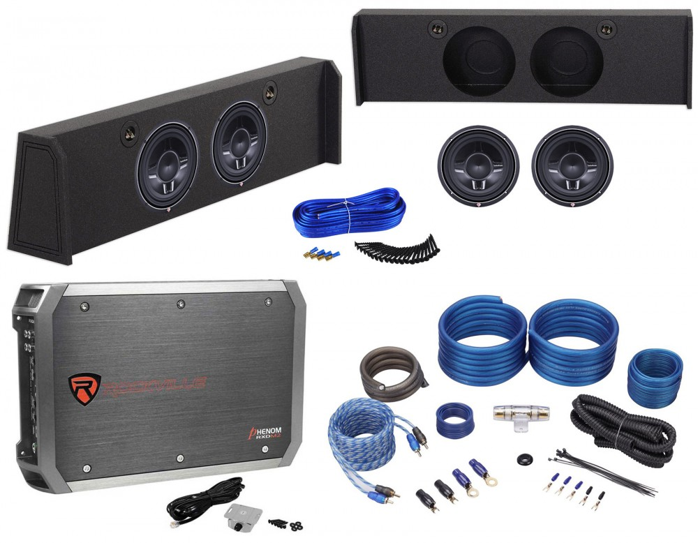 Rockville Dual 10 Subwoofer Sub Box w//Bedliner for 2009-Up Ford F-150 SuperCrew