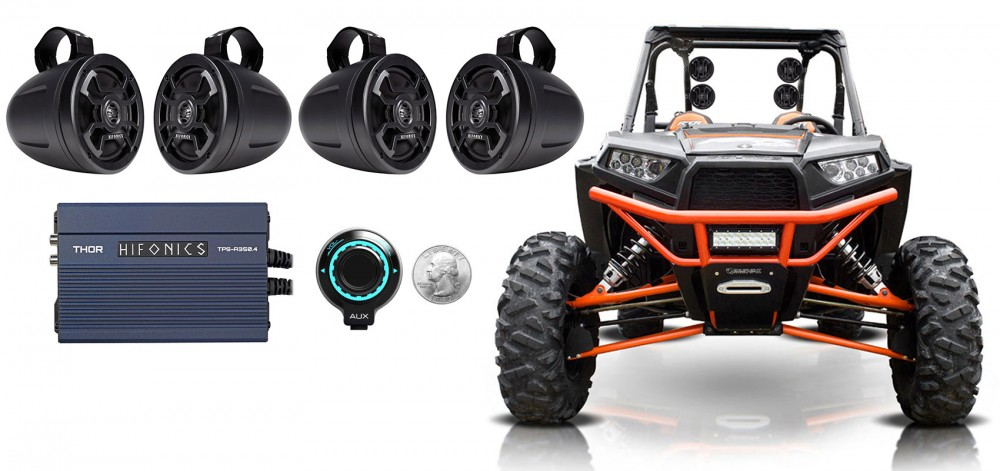 Hifonics TPS-CMS65 6.5 300w Wakeboard Tower Speakers+Covers For RZR//ATV//UTV 2