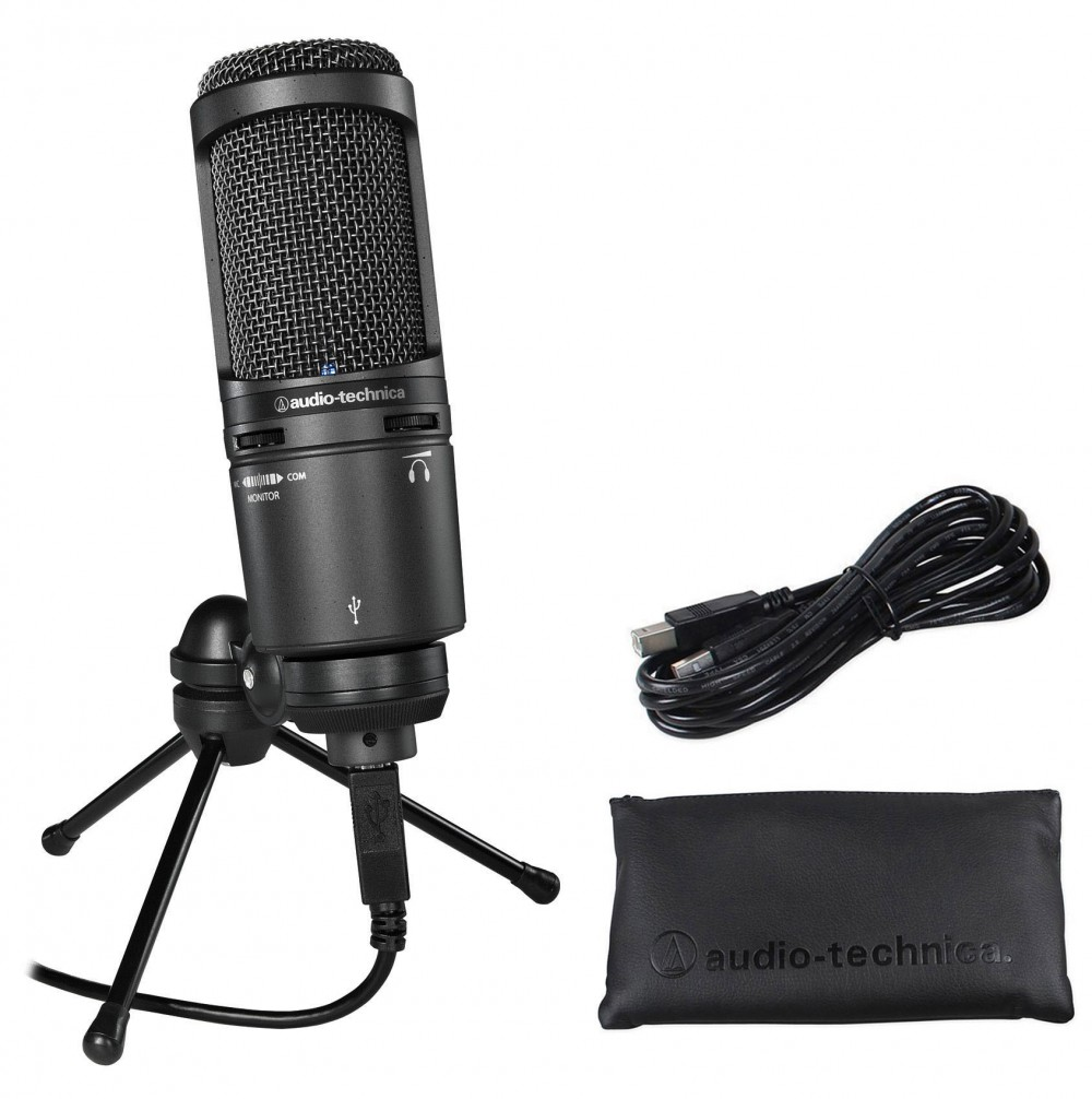 Podcast Podcasting Microphone+Headphones+Stand Audio Technica AT2020USB