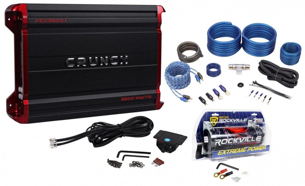 Crunch PZX3500 1 3500 Watt Mono Class D Amplifier+Amp Wire