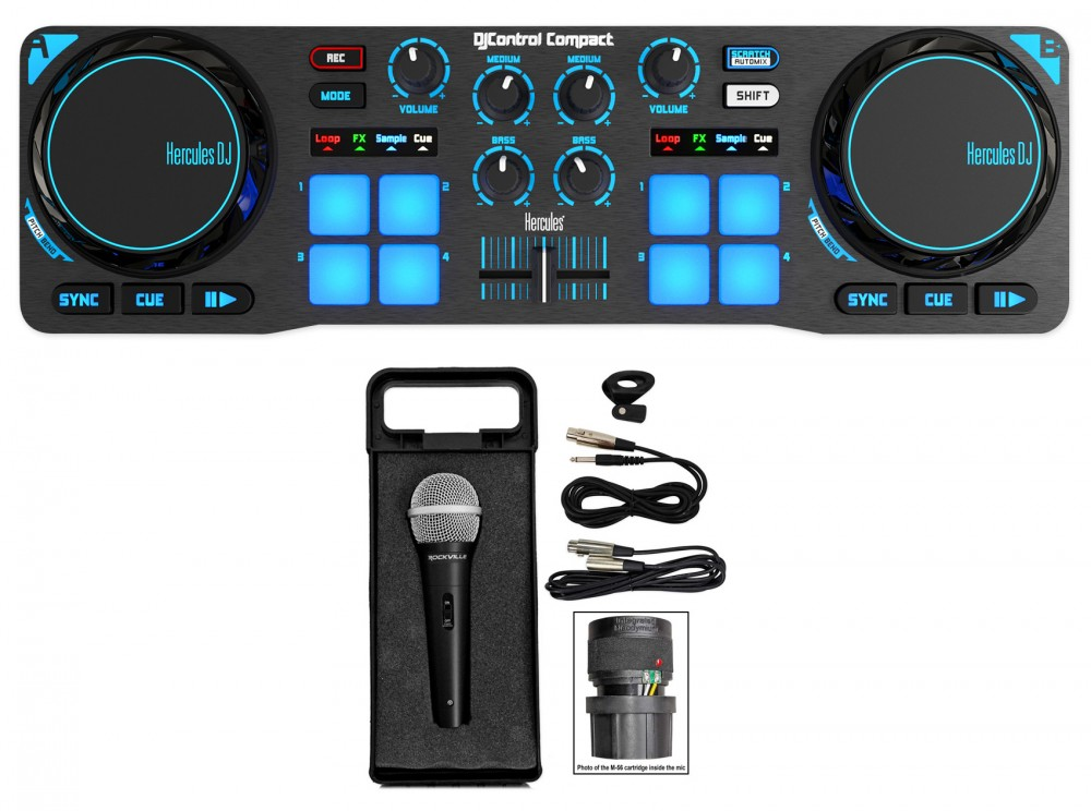 hercules djcontrol compact usb 2 deck dj controller mixer free microphone case audio savings. Black Bedroom Furniture Sets. Home Design Ideas