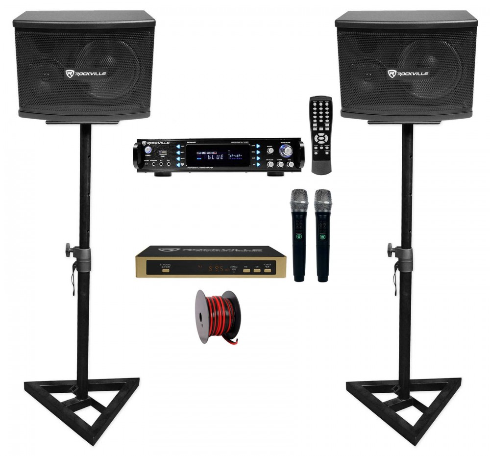 Black 6.5 Rockville Pair KPS65 2-Way 400 Watt Karaoke Speakers+Wall Brackets//MDF