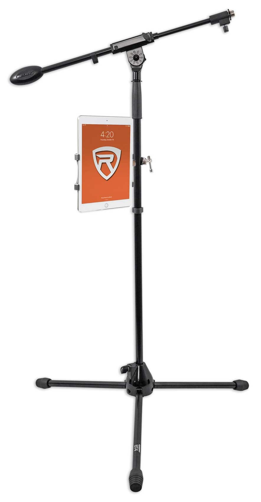 Rockville Microphone Mic Stand w// Boom+Tripod Base+Smartphone//Tablet//iPad Mount