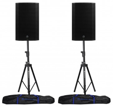 "(2) Mackie Thump15A THUMP-15A 15"" 1300w Powered DJ PA Speakers+Hydraulic Stands"