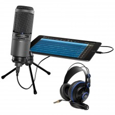 Audio Technica AT2020USBi Condenser USB Recording/Studio Microphone + Headphones