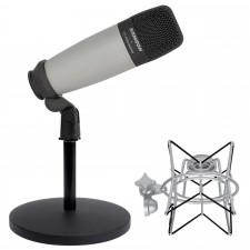 Samson C01 Studio Recording Podcasting Microphone+Shock Mount+Weighted Mic Stand