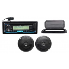 "JVC Hot Tub Audio System w/Stereo Bluetooth Receiver+(2) 5.25"" Black Speakers"