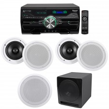 """Technical Pro 4000w Home Theater DVD Receiver w/Bluetooth/USB+5) 8"""" Speakers+Sub"""