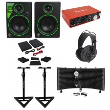 "Mackie 4"" Studio Monitors+Focusrite Interface+Headphones+Mic+Shield+Pads+Stands"