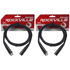 (2) Rockville RDX3M5 5 Foot 3 Pin DMX Lighting Cables 100% Copper Female to Male