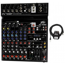 Peavey PV 10BT PV10BT Mixer,4 mic In,Bluetooth/USB,Compressor/Effects+XLR Cable