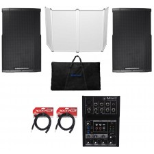 "(2) Cerwin Vega CVE-15 1000 Watt 15"" Powered DJ PA Speakers+Facade+Mackie Mixer"