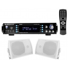 "Rockville Home Theater Bluetooth Receiver + (2) 5.25"" Speakers w/Swivel Brackets"