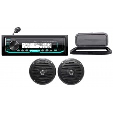 "Hot Tub Audio System w/ JVC Stereo Bluetooth Receiver+(2) 5.25"" Black Speakers"