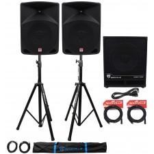"""(2) Rockville RPG10 10"""" Powered PA Speakers+Active 15"""" Subwoofer+Stands+Cables"""