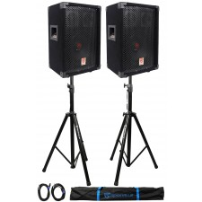 "(2) Rockville RSG8 8"" 300 Watt 2-Way 8-Ohm Passive DJ PA Speaker +Stands +Cables"