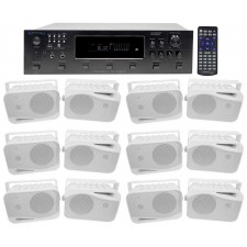 "Technical Pro 6000w (6) Zone Receiver+(12) 4"" Speakers For Restaurant/Bar/Café"