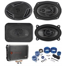 "2) Rockville RV69.4A 6x9"" Speakers+2) 4x6"" Speakers+4-Channel Amplifier+Amp Kit"