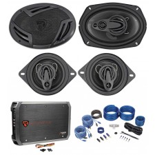 "(2) Rockville RV69.4A 6x9"" Speakers+(2) 3.5"" Speakers+4-Channel Amplifier+Wires"