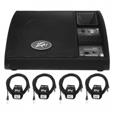 """Peavey PV 15PM 15"""" Bi-Amplified Powered Floor Monitors PV15PM + (4) XLR Cables"""