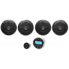 "Hot Tub Audio System w/ Bluetooth Gauge Hole Receiver+(4) 5.25"" Black Speakers"