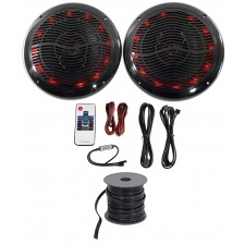 "2) Rockville 6.5"" 600w ATV/UTV/RZR/CART/Polaris Speakers+Multi Color LED+Remote"