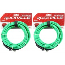 2 Rockville RCXMB30-G Green 30' Male REAN XLR to 1/4'' TRS Balanced Cables
