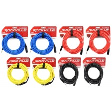 8 Rockville 30' Male REAN XLR to 1/4'' TRS Cable (4 Colors x 2 of Each)