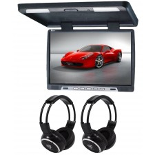 "TView T2207IR 22"" Black Slim Overhead Car/SUV Video Monitor +2 Wireless Headsets"