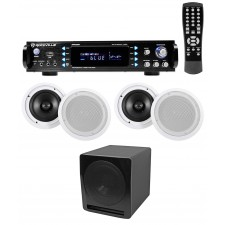 """Rockville RPA60BT Home Theater Bluetooth Receiver+(4) 8"""" In-Ceiling Speakers+Sub"""