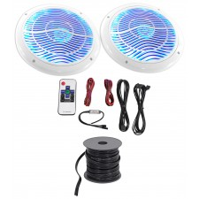"2) Rockville 6.5"" 600w Polaris/ATV/UTV/RZR/CART Speaker w/Multi Color LED+Remote"