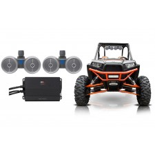 "2) Rockville Dual 6.5"" 600w Tower Speakers+Amp for Polaris RZR/Jeep/ATV/UTV/Cart"