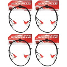 4 Rockville RCDR3RR 3' Dual Right Angle RCA Cable to Dual Right Angle RCA
